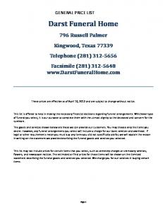 GENERAL PRICE LIST. Darst Funeral Home