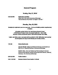 General Program. Sunday, May 17, 2015