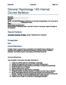 General Psychology 140-Internet Course Syllabus
