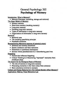 General Psychology 202 Psychology of Memory