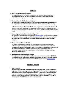GENERAL REGISTRY PROFILE