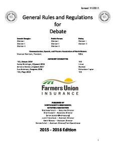 General Rules and Regulations for Debate