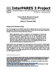 General Study Research Proposal Organizational Culture