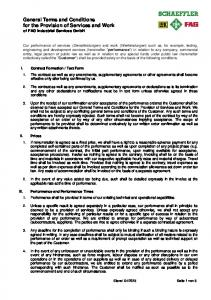 General Terms and Conditions for the Provision of Services and Work of FAG Industrial Services GmbH