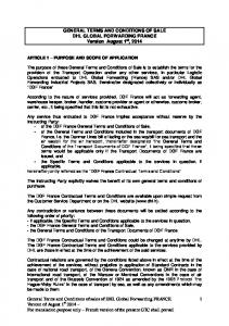 GENERAL TERMS AND CONDITIONS OF SALE DHL GLOBAL FORWARDING FRANCE Version August 1 st, 2014