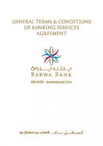 GENERAL TERMS & CONDITIONS OF BANKING SERVICES AGREEMENT
