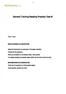 General Training Reading Practice Test #1