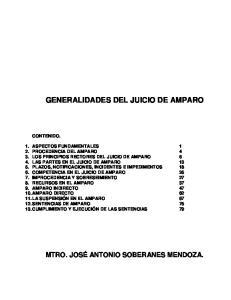 GENERALIDADES DEL JUICIO DE AMPARO