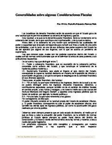 Generalidades sobre algunas Consideraciones Fiscales