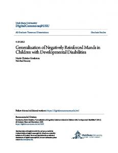 Generalization of Negatively Reinforced Mands in Children with Developmental Disabilities