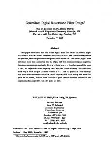 Generalized Digital Butterworth Filter Design