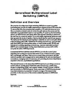 Generalized Multiprotocol Label Switching (GMPLS)