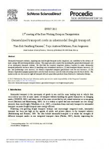 Generalized transport costs in intermodal freight transport