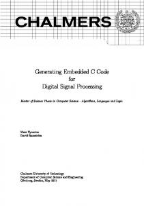 Generating Embedded C Code for Digital Signal Processing