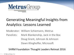 Generating Meaningful Insights from Analytics: Lessons Learned