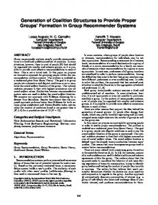 Generation of Coalition Structures to Provide Proper Groups Formation in Group Recommender Systems