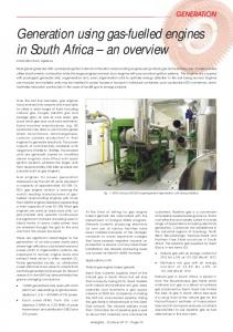 Generation using gas-fuelled engines in South Africa an overview