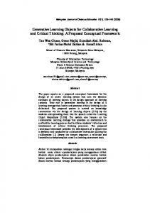 Generative Learning Objects for Collaborative Learning and Critical Thinking: A Proposed Conceptual Framework