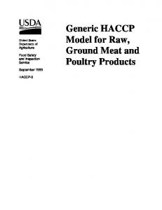 Generic HACCP Model for Raw, Ground Meat and Poultry Products
