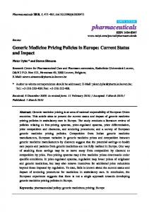 Generic Medicine Pricing Policies in Europe: Current Status and Impact