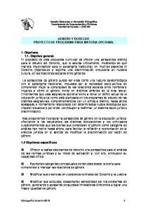 GENERO Y DERECHO PROYECTO DE PROGRAMA PARA MATERIA OPCIONAL