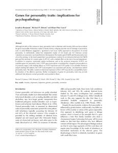 Genes for personality traits: implications for psychopathology