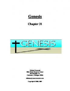 Genesis Chapter 31 Michael Fronczak Bible Study Resource Center 564 Schaeffer Dr. Coldwater, Michigan biblestudyresourcecenter