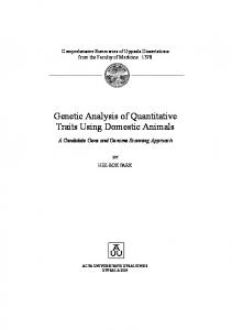 Genetic Analysis of Quantitative Traits Using Domestic Animals