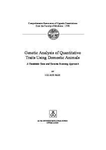 Genetic Analysis of Quantitative Traits Using Domestic Animals