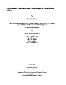 Genetic Analysis of Toxin-Induced Dilated Cardiomyopathy in the Turkey (Meleagris gallopavo) Kwaku B. Gyenai