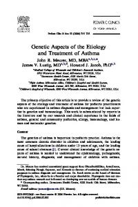 Genetic Aspects of the Etiology and Treatment of Asthma