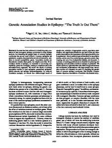 Genetic Association Studies in Epilepsy: The Truth Is Out There