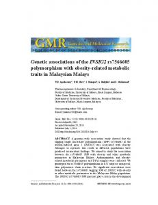 Genetic associations of the INSIG2 rs polymorphism with obesity-related metabolic traits in Malaysian Malays