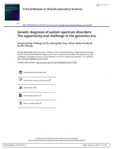 Genetic diagnosis of autism spectrum disorders: The opportunity and challenge in the genomics era