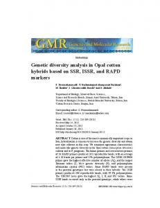 Genetic diversity analysis in Opal cotton hybrids based on SSR, ISSR, and RAPD markers