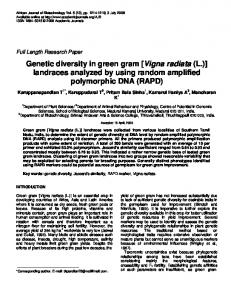 Genetic diversity in green gram [Vigna radiata (L.)] landraces analyzed by using random amplified polymorphic DNA (RAPD)