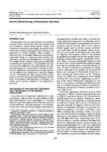 Genetic Epidemiology of Psychiatric Disorders