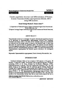 Genetic population structure and differentiation of Western Iranian Oxynoemacheilus argyrogramma (Heckel, 1847)