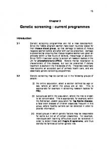 Genetic screening : current programmes