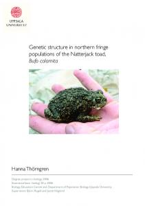 Genetic structure in northern fringe populations of the Natterjack toad, Bufo calamita
