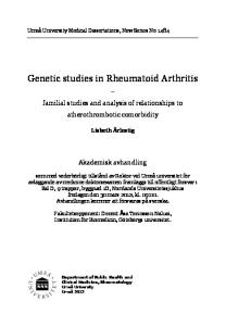 Genetic studies in Rheumatoid Arthritis