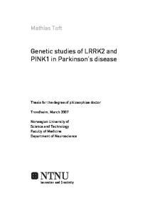 Genetic studies of LRRK2 and PINK1 in Parkinson's disease