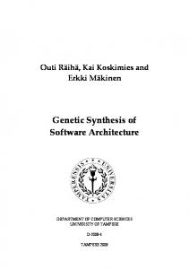 Genetic Synthesis of Software Architecture