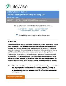 Genetic Testing for Hereditary Hearing Loss