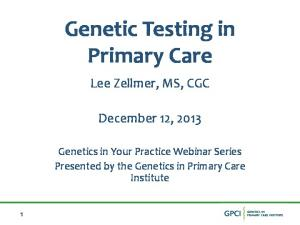 Genetic Testing in Primary Care