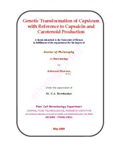 Genetic Transformation of Capsicum with Reference to Capsaicin and Carotenoid Production