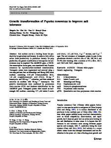 Genetic transformation of Populus tomentosa to improve salt tolerance