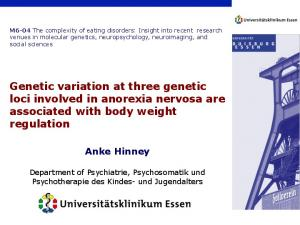 Genetic variation at three genetic loci involved in anorexia nervosa are associated with body weight regulation