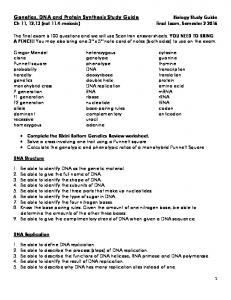 Genetics, DNA and Protein Synthesis Study Guide