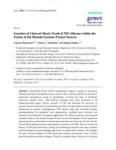 Genetics of Charcot-Marie-Tooth (CMT) Disease within the Frame of the Human Genome Project Success